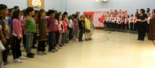 University Heights students recite the Children's Charter for Compassion.